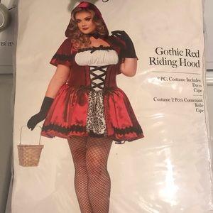 Gothic Red Riding Hood Halloween Costume 1X 2X